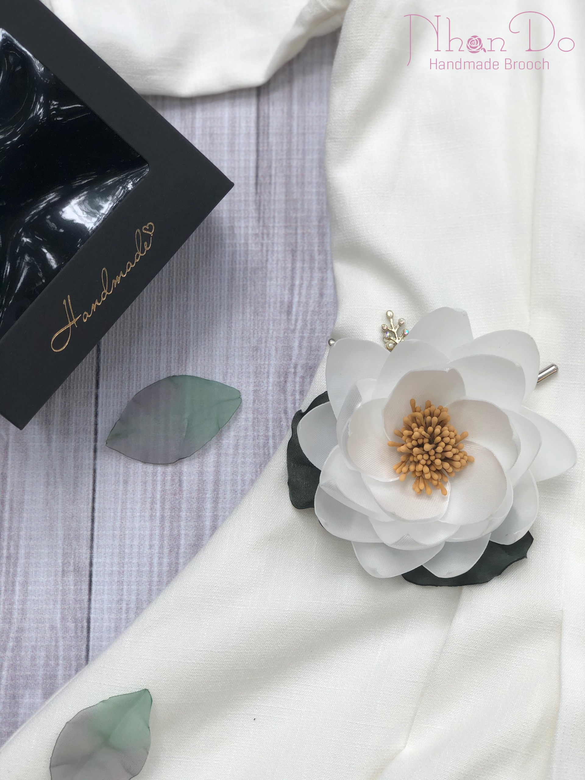 White Silk Lotus Flower Brooch Pin With Gift Box
